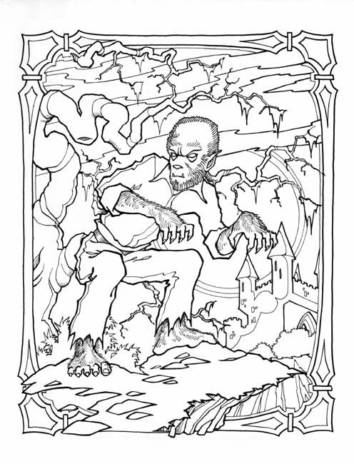 Drawn wolfman coloring page Best coloring coloring images on