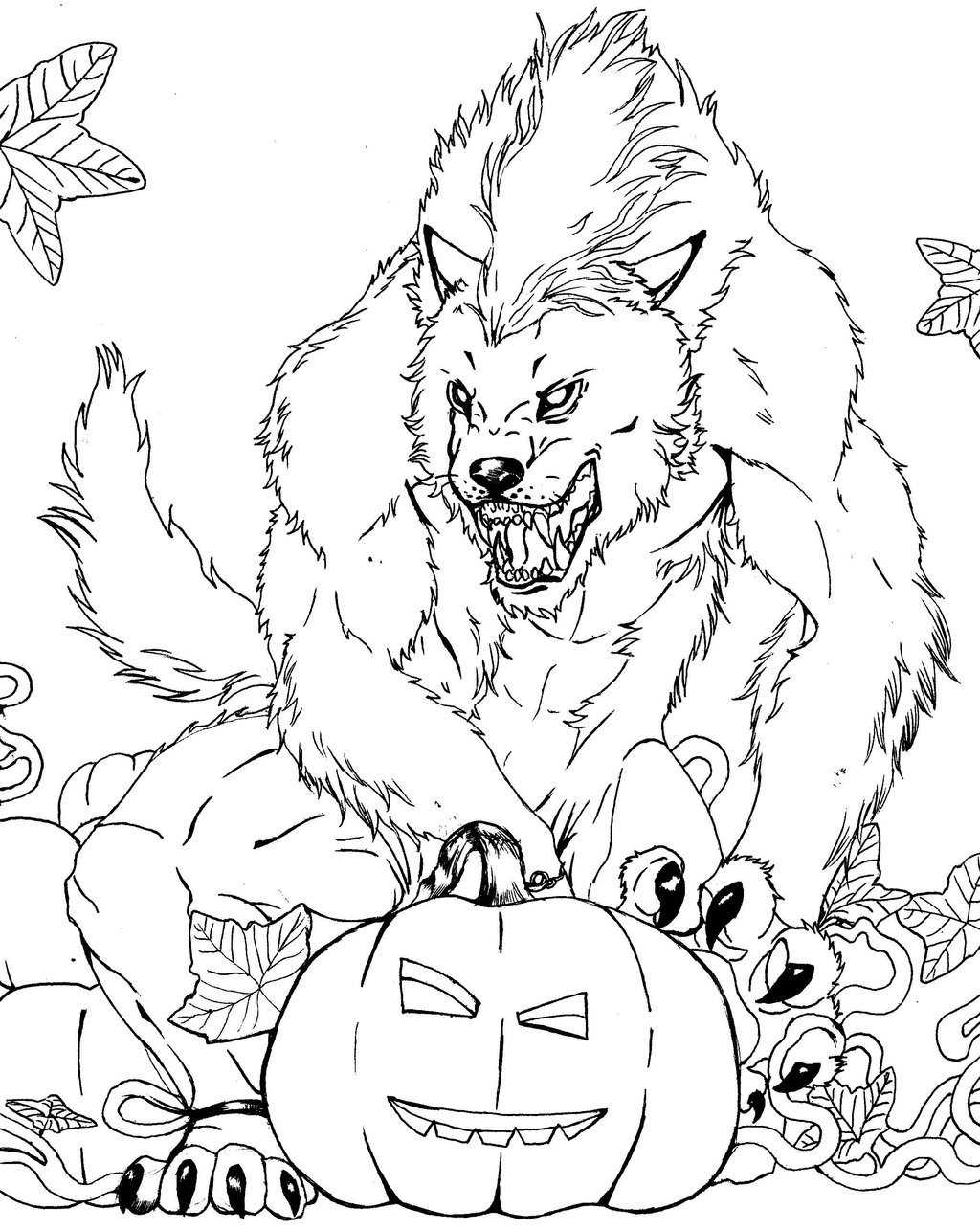 Drawn wolfman coloring page Free Monsters Werewolf Coloring Page
