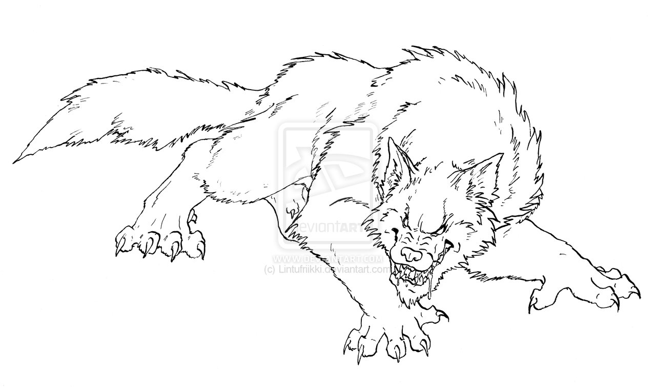 Drawn wolfman coloring page Page; drawing werewolf Werewolf Coloring