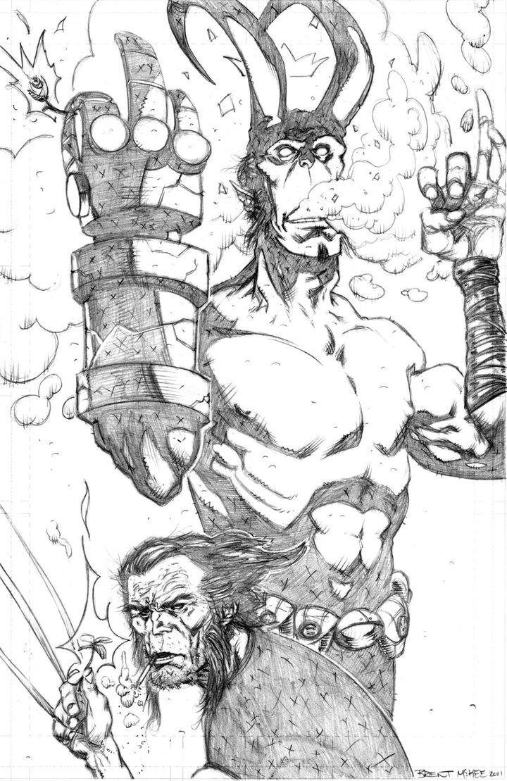 Drawn wolfman hellboy BrentMcKee and on 4 logan