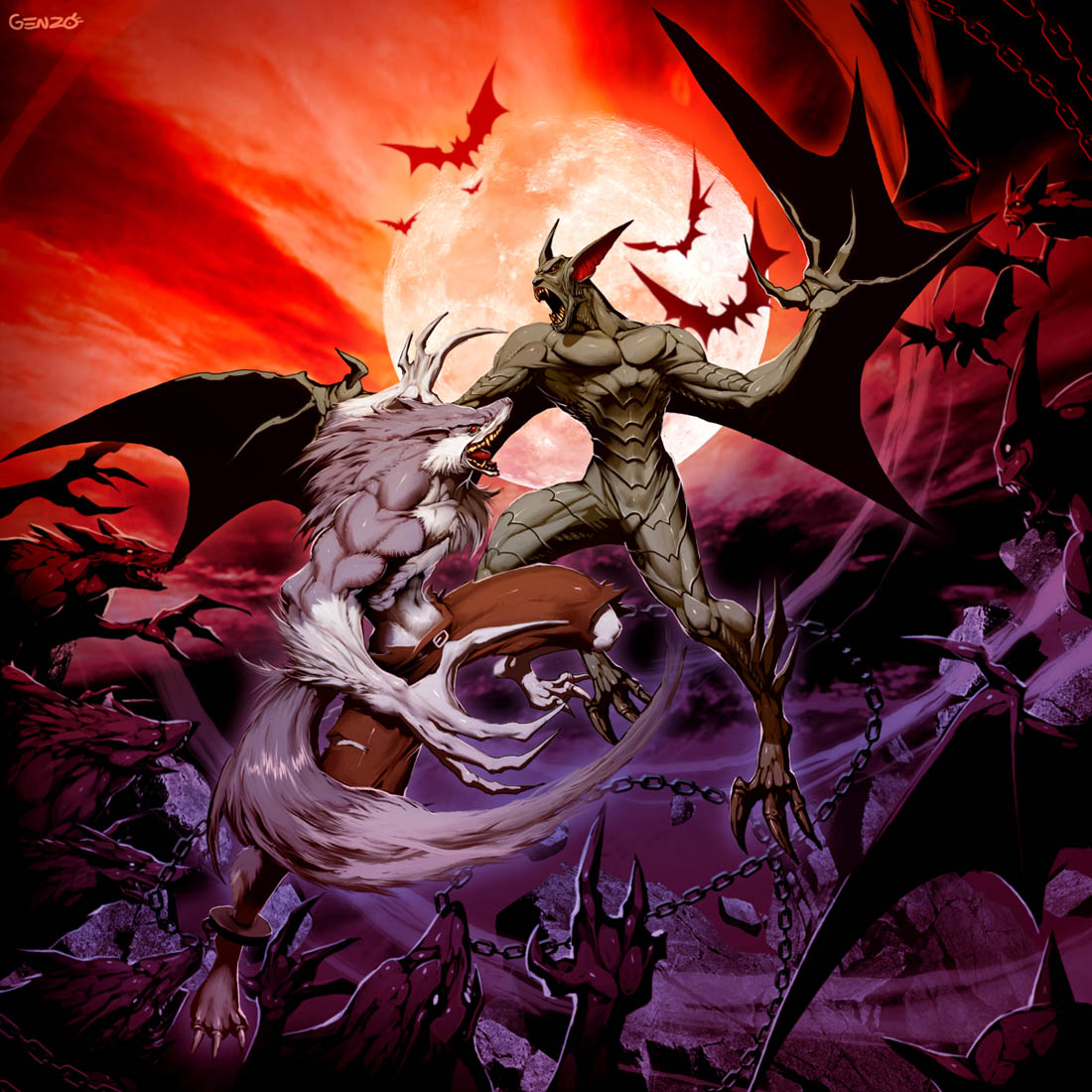 Drawn wolfman human love Vampire VS GENZOMAN on Werewolf