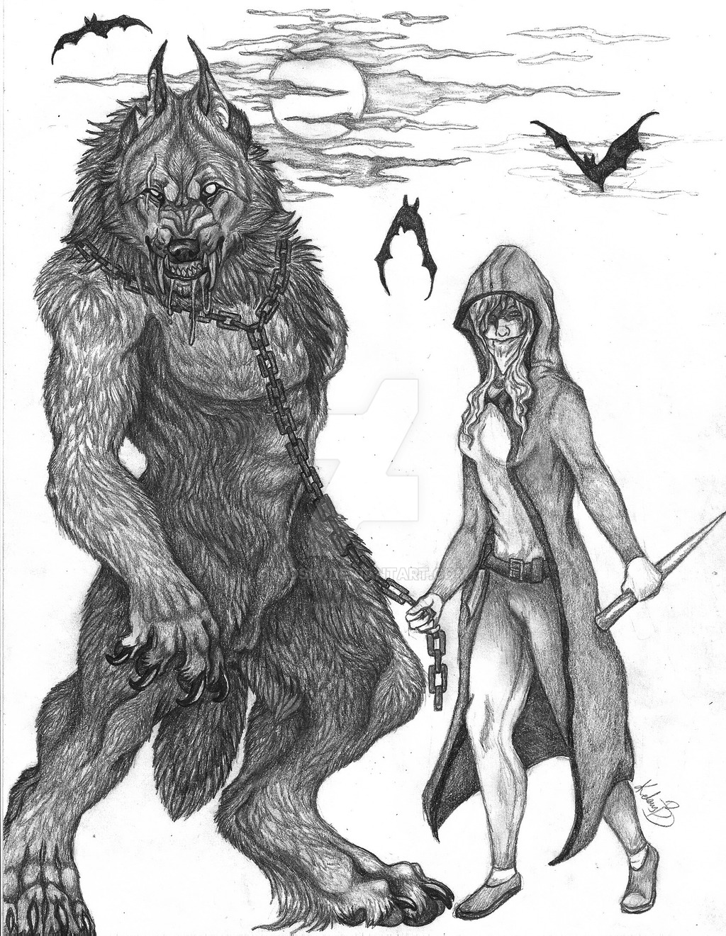 Drawn wolfman human love And vampire her on sioSIN