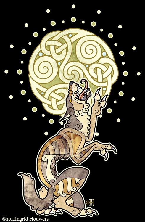 Drawn wolfman irish Burning suddenly Celtic Werewolf this