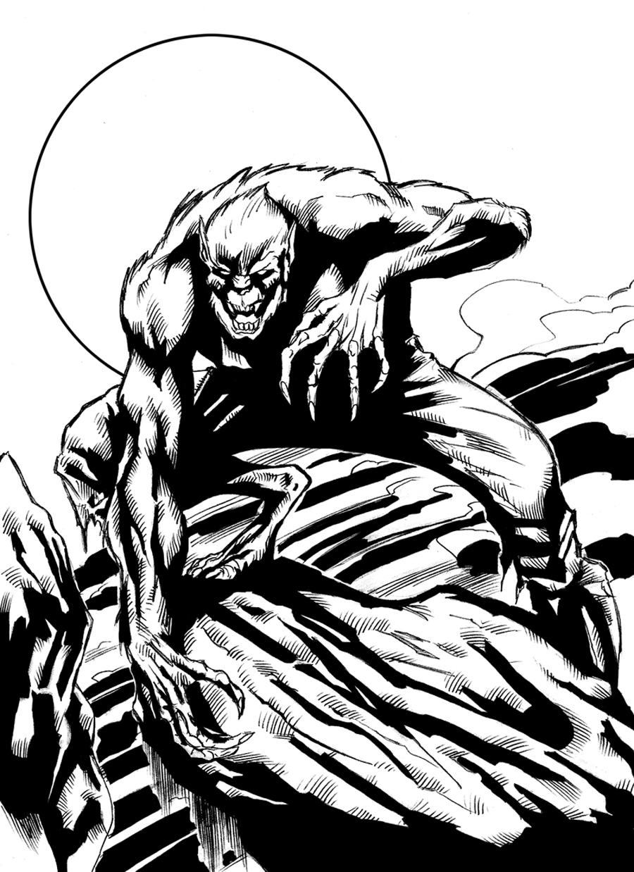 Drawn wolfman line art Digital Wolfman ink by DeviantArt