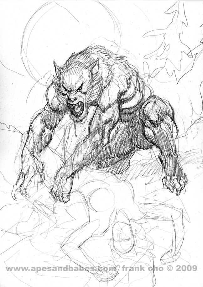 Drawn wolfman line art Liberty  art and art