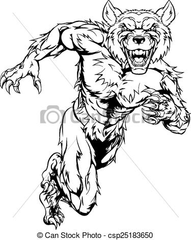 Drawn wolfman line art Wolf Clipart sprinting sprinting Vector
