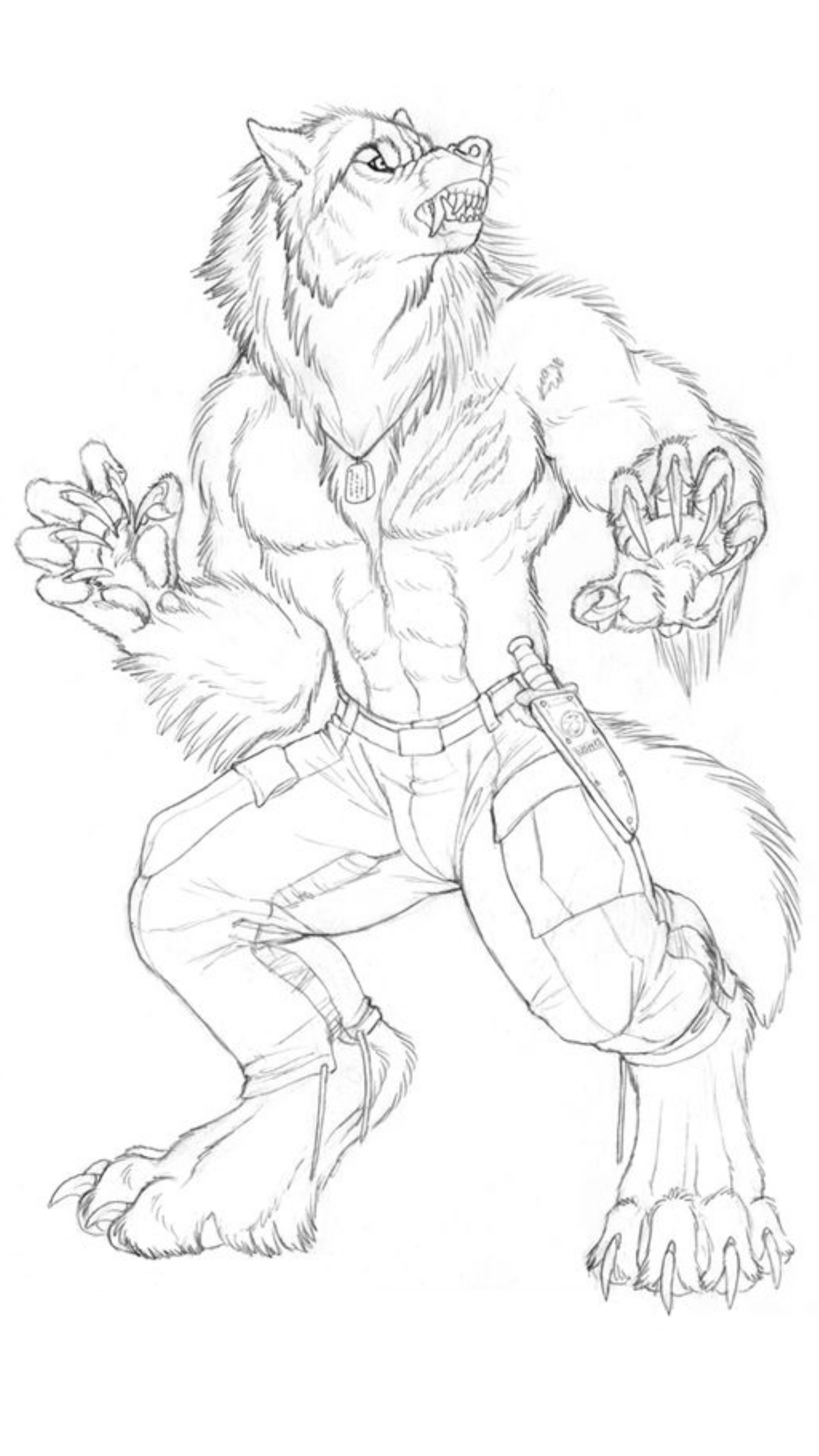 Drawn wolfman mechanical /  Werewolves Lobisomens Werewolf