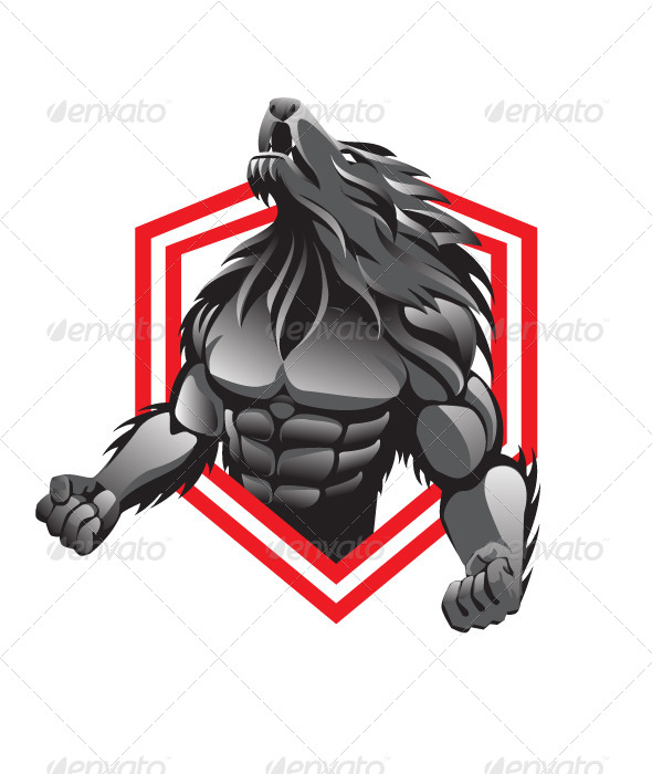 Drawn wolfman muscular body  DOWNLOAD ai psd) (