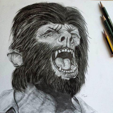 Drawn wolfman pencil drawing Transformation (@slim_draw) Mulas photos Wolfman