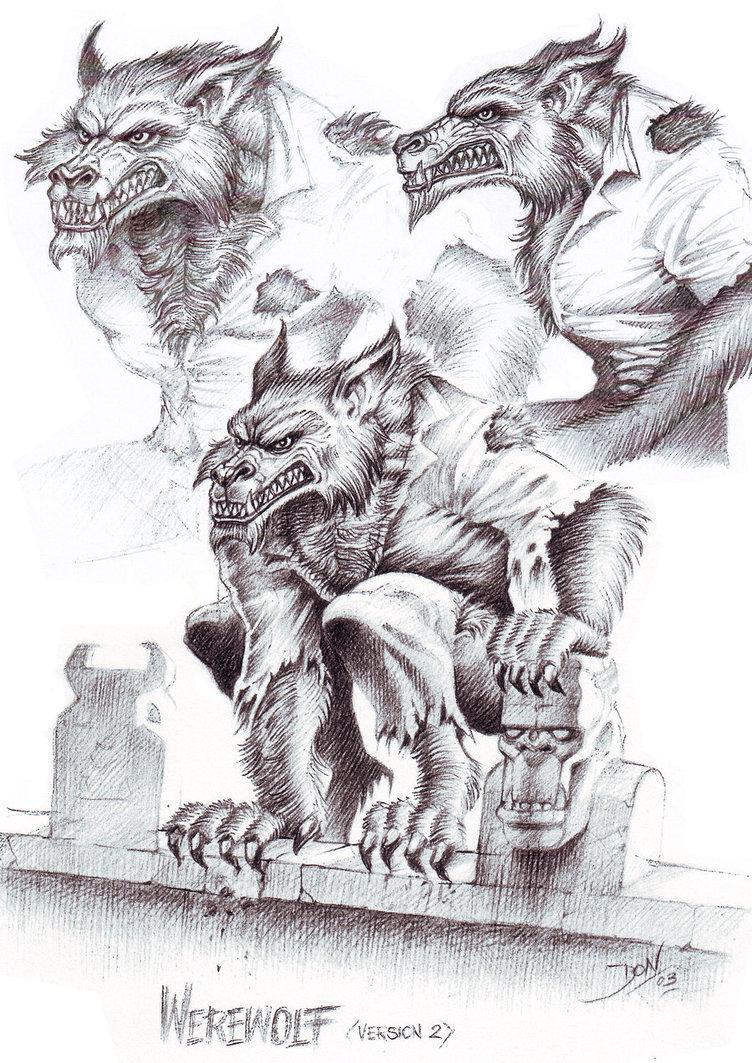 Drawn wolfman pencil drawing Concept Drawing by DonWazejewski by