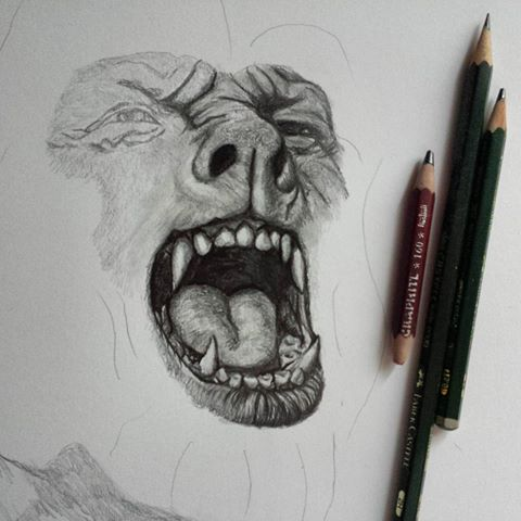 Drawn wolfman pencil drawing Transformation new technique I'm ✏