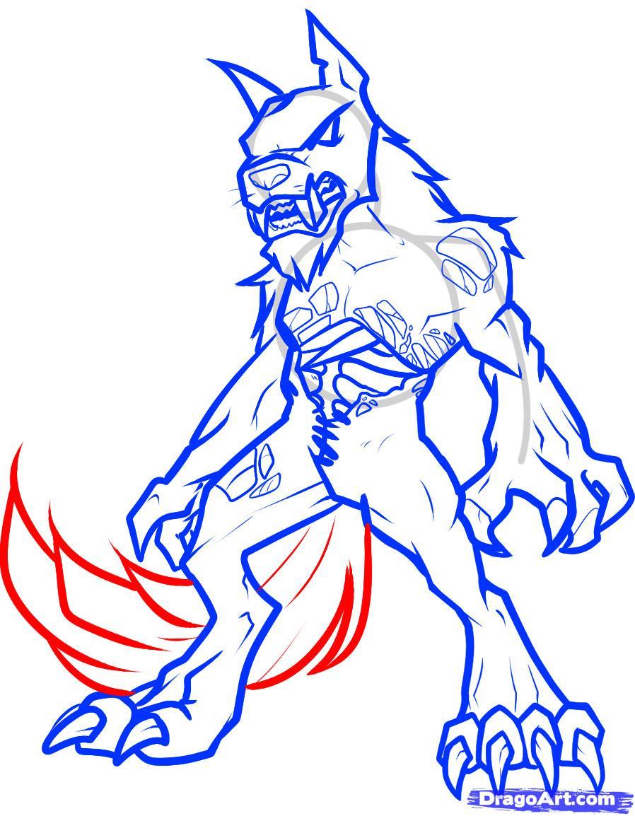 Drawn wolfman powerful Zombie Werewolf Werewolf Zombie Draw