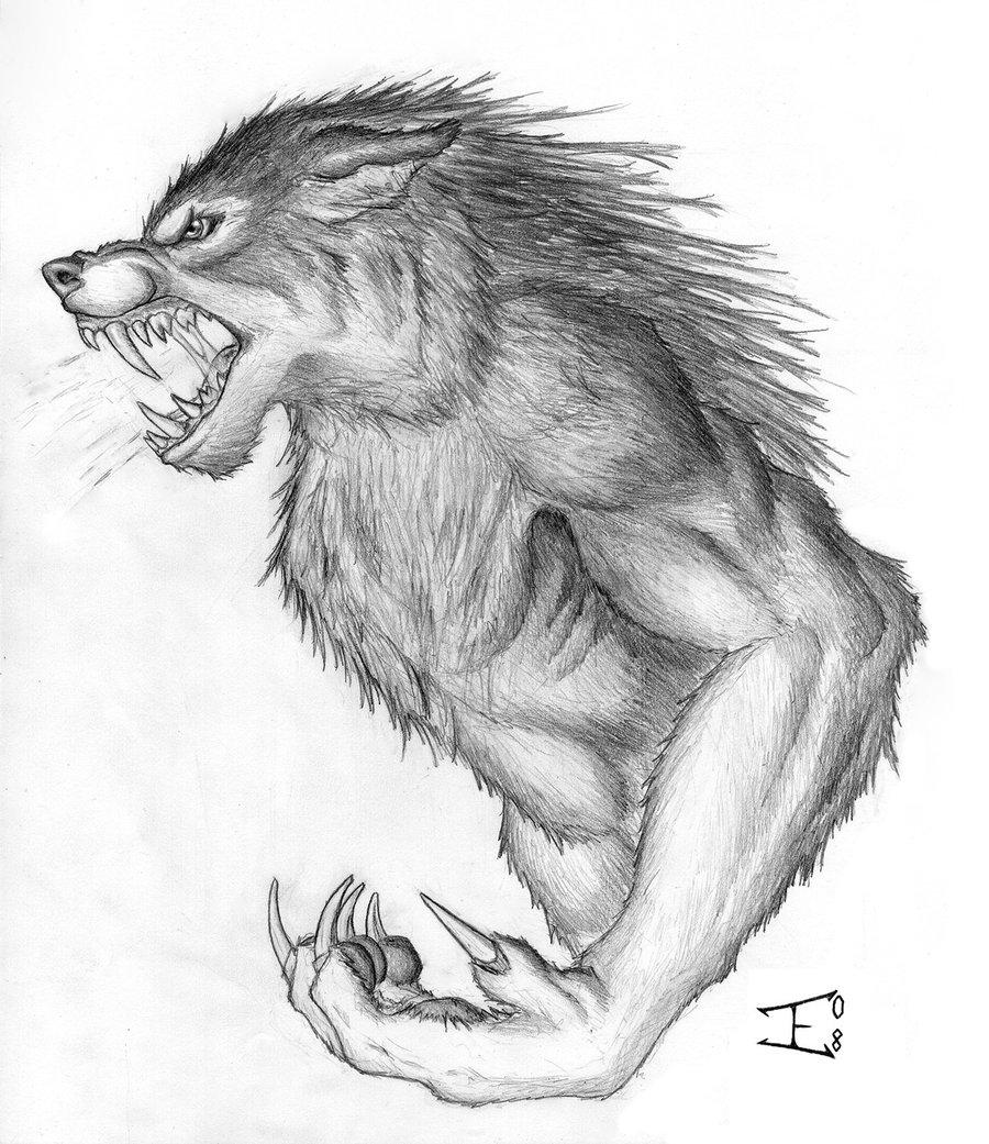 Drawn wolfman rage #classic Costume #terror Werewolf #pulp