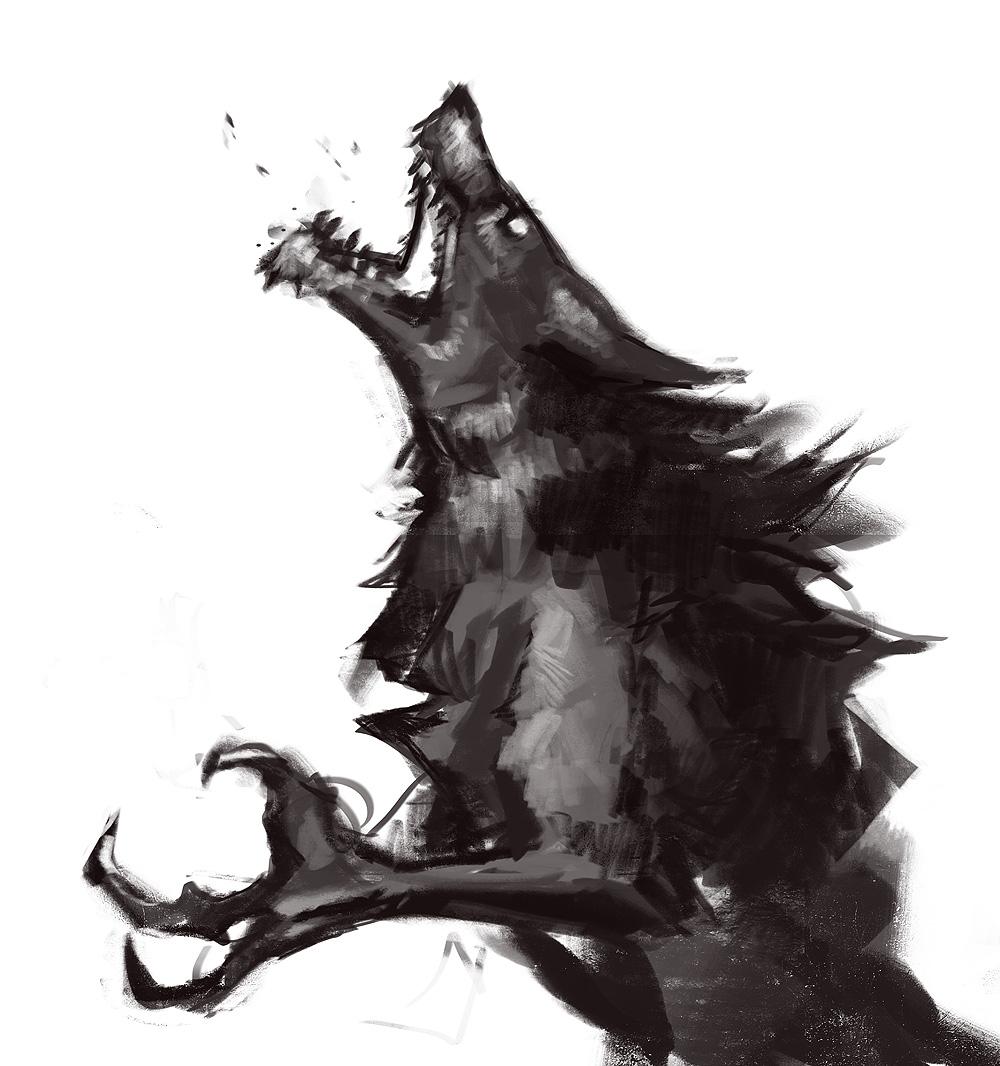 Drawn wolfman transparent Werewolf White Skyrim skyrim Werewolf