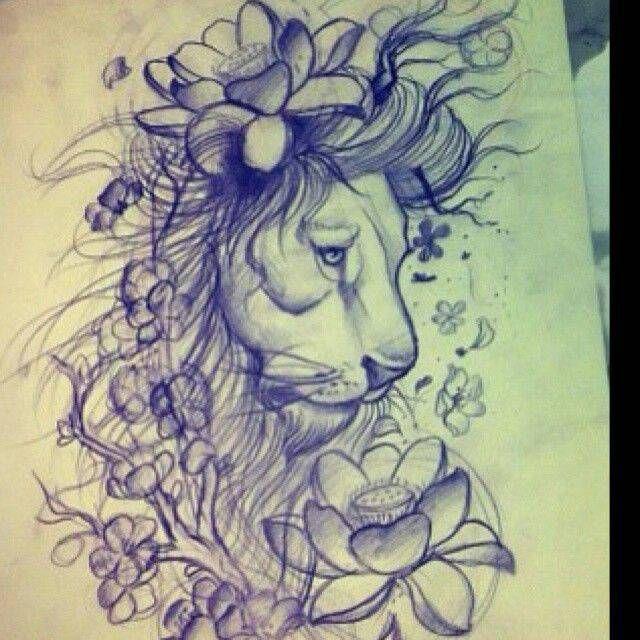 Drawn woman lion #8