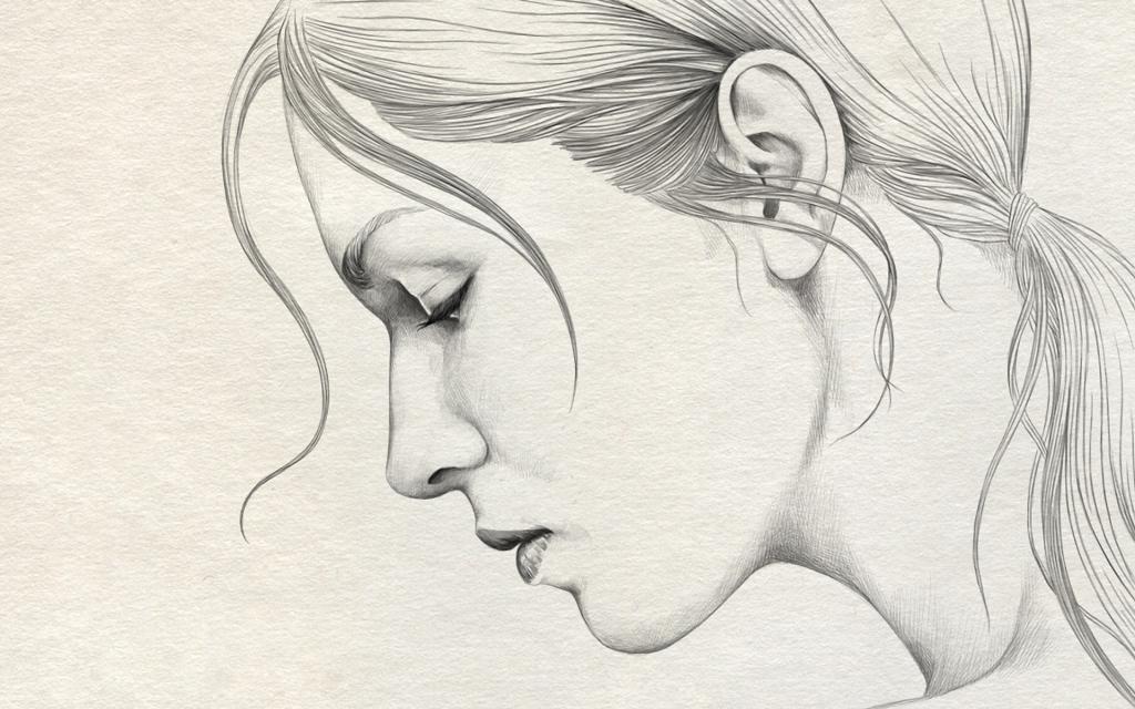 Drawn woman pencil sketch #5