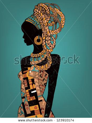 Drawn women african En on woman African stock