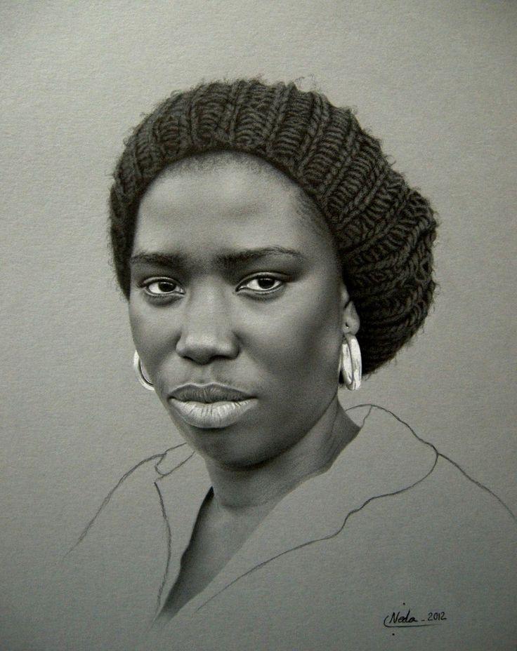 Drawn women african {figurative head african black american
