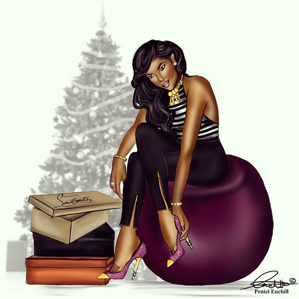 Drawn women african american  sketches fashion daily by