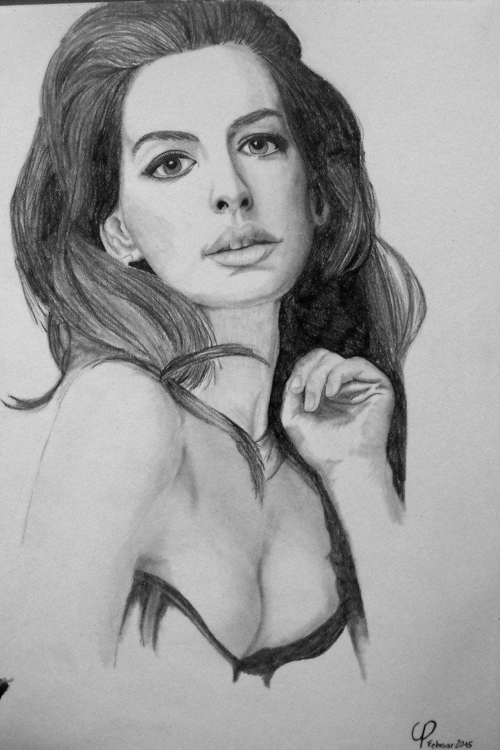 Drawn women anne hathaway Hathaway CarasPencil CarasPencil by DeviantArt