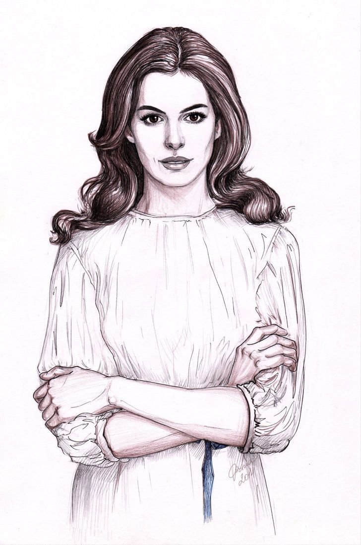 Drawn women anne hathaway Hathaway Pinterest best 48 DafnaWinchester