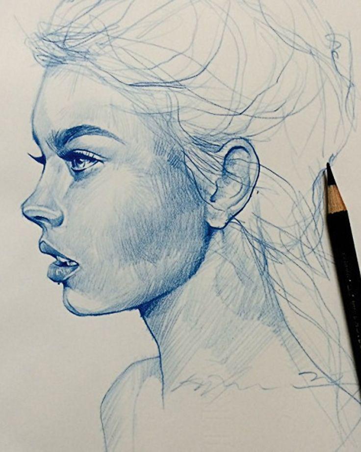 Drawn women art Ideas sketch head sketch face