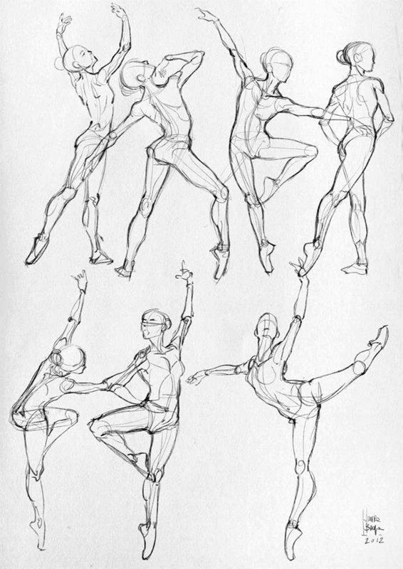 Drawn women athletic On Center Balance for drawings