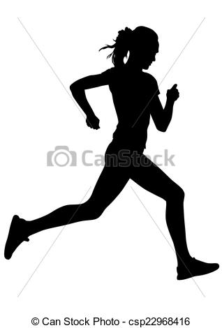 Drawn women athletic Running athletes Clip woman Vector