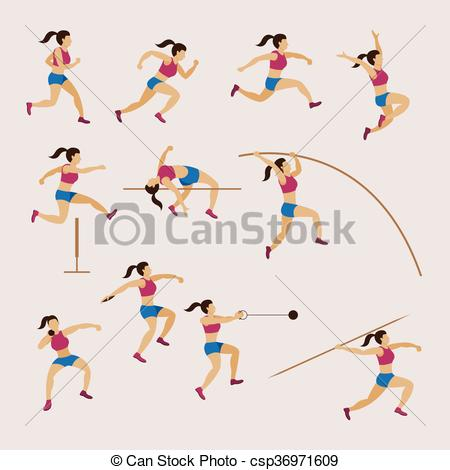 Drawn women athletic And Athletes Women Track