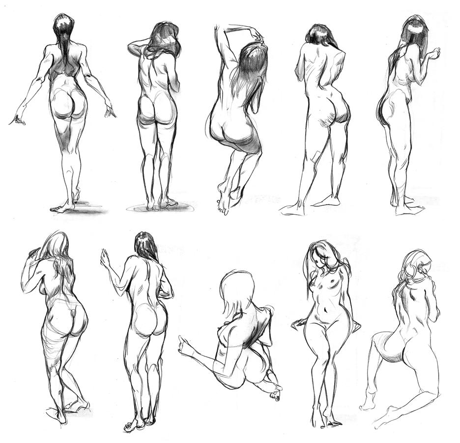 Drawn women back body part Francis Vallejo  body pose
