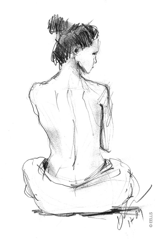 Drawn women back body part With The Eells: Woman