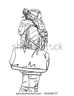 Drawn women big Drawn Hand walking illustration big