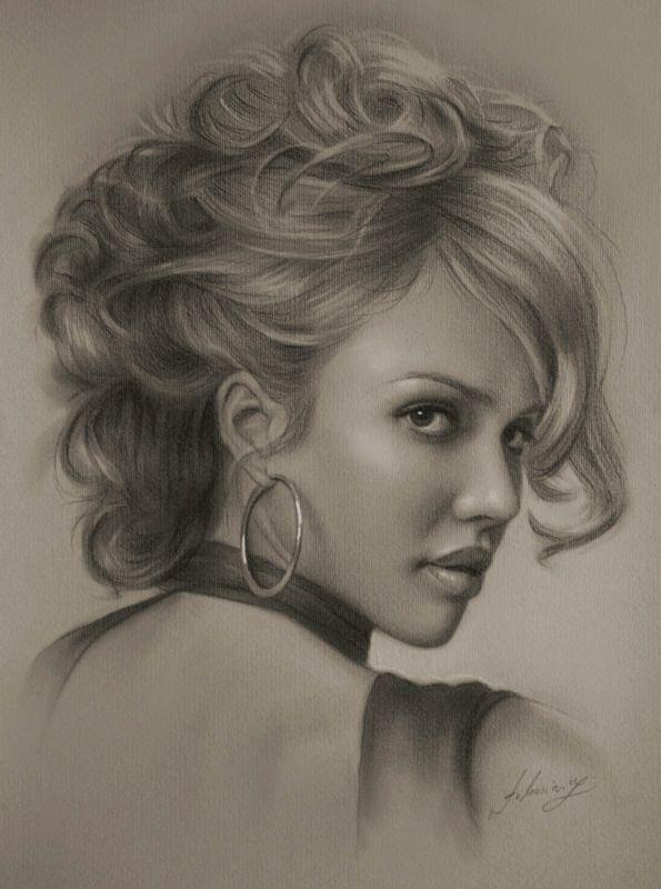 Drawn women celebrity Girl sketch Pinterest portraits pencil