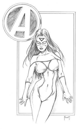 Drawn women comic character Marvel Comic Marvel and Pencil