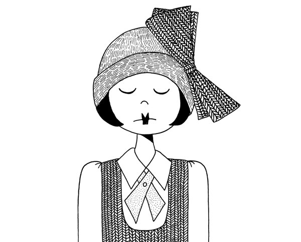 Drawn women doodle Girl 1920s on of Black