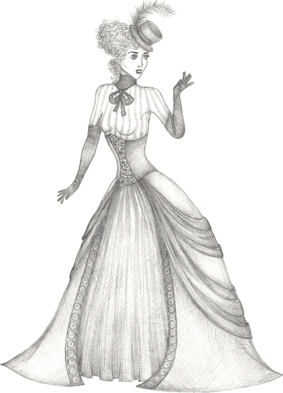 Drawn women dress drawing Of Pictures Coloring of Victorian