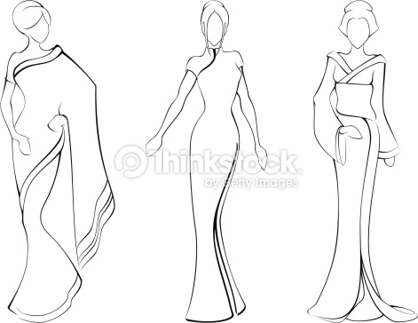 Drawn women dress drawing Sketch Vector Sketch Women In