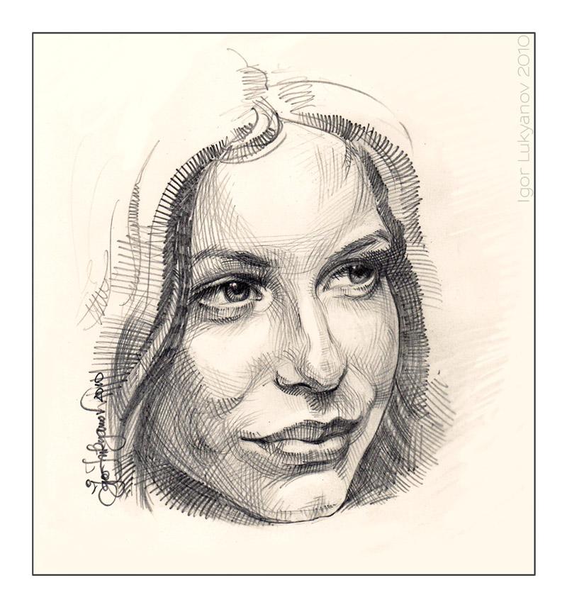 Drawn women face (female face portrait) Woman a