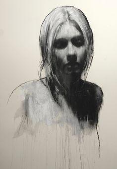 Drawn women face art Head woman Artist: conté collage