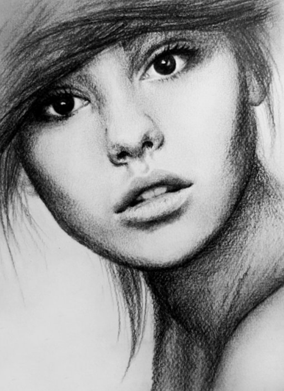 Drawn women face art By ~pomidorova Art on