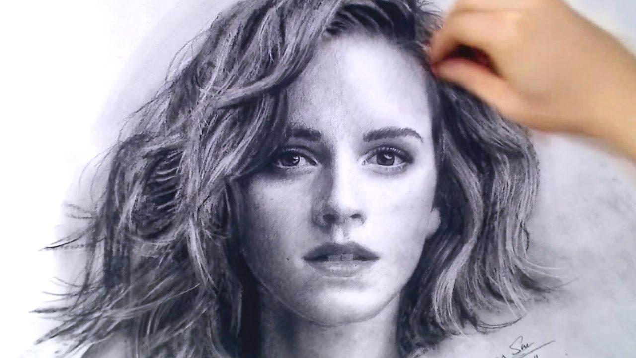 Drawn portrait emma watson Drawing YouTube and Drawing video