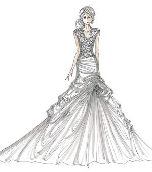 Drawn wedding dress party dress Sketches draw Runway Runway how