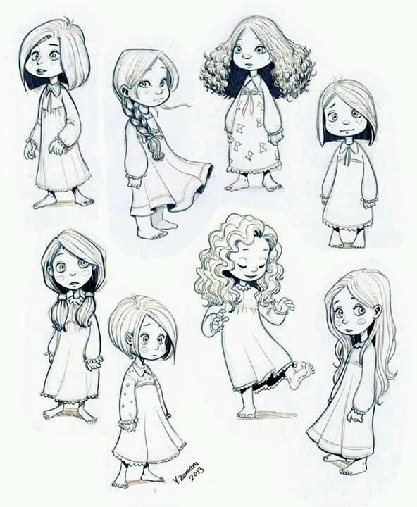 Drawn women female character Art Character Children studies Pinterest