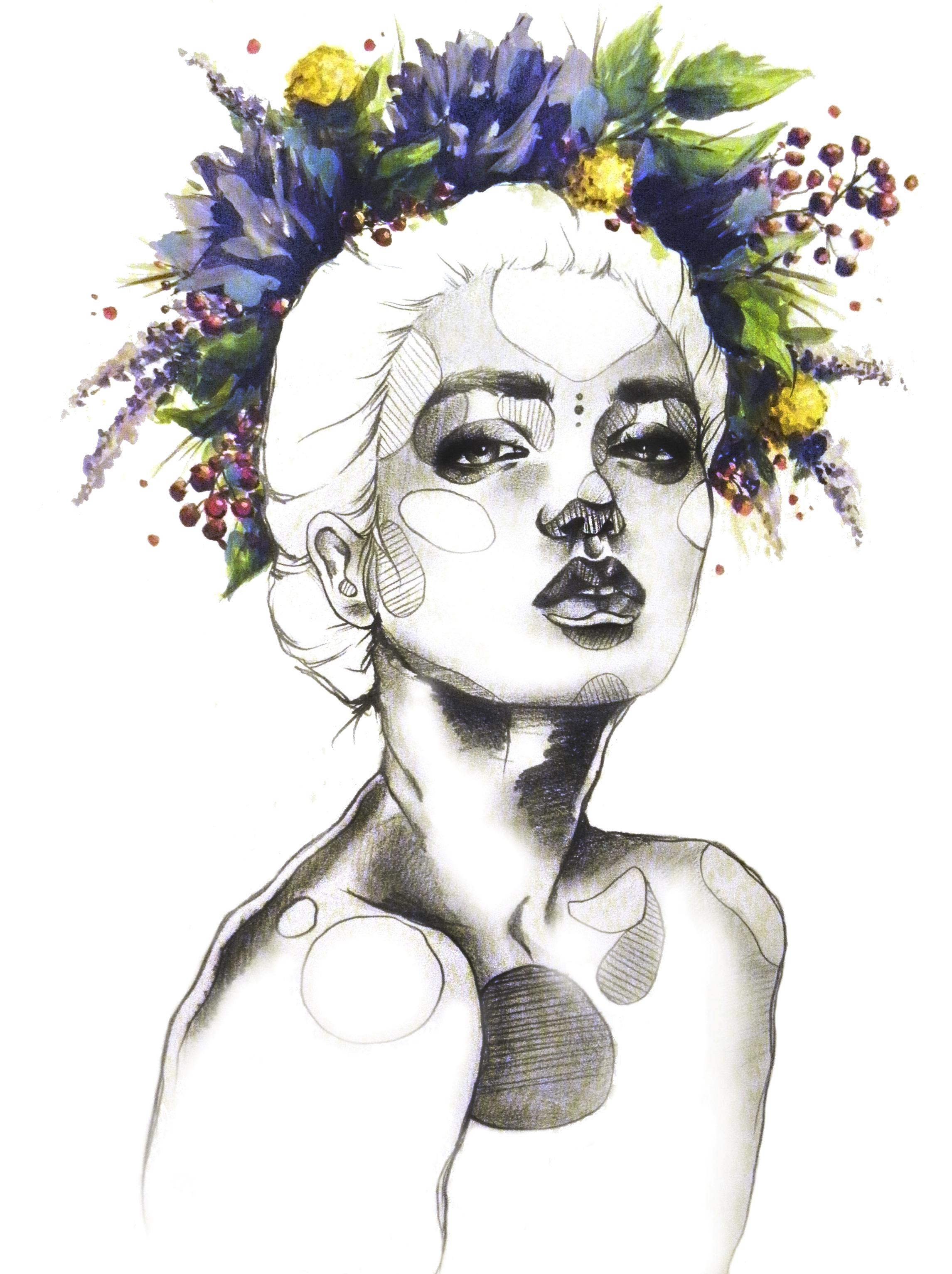 Drawn woman floral crown #11