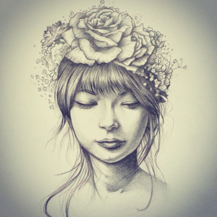 Drawn portrait floral Girl flower with II tumblr