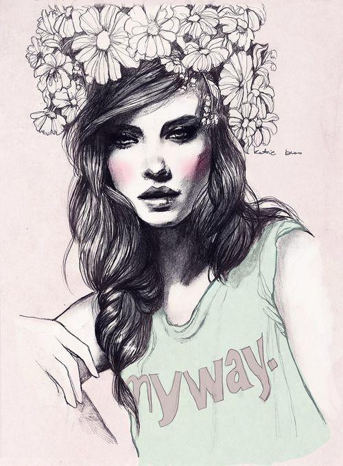 Drawn women flower crown On LANA images Pinterest DEL