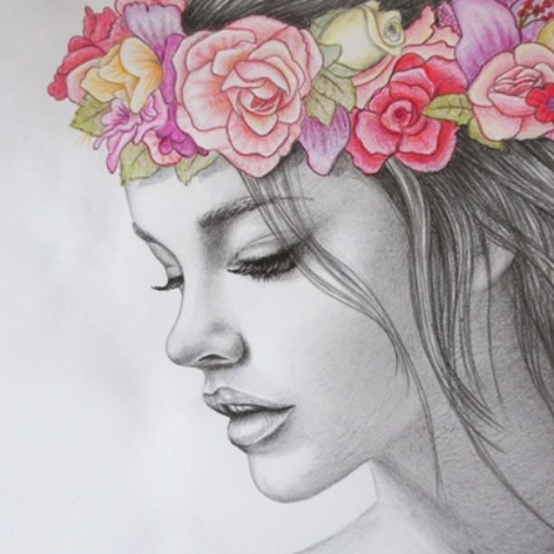 Drawn women flower crown Info #drowing #flowers Pinterest flowers