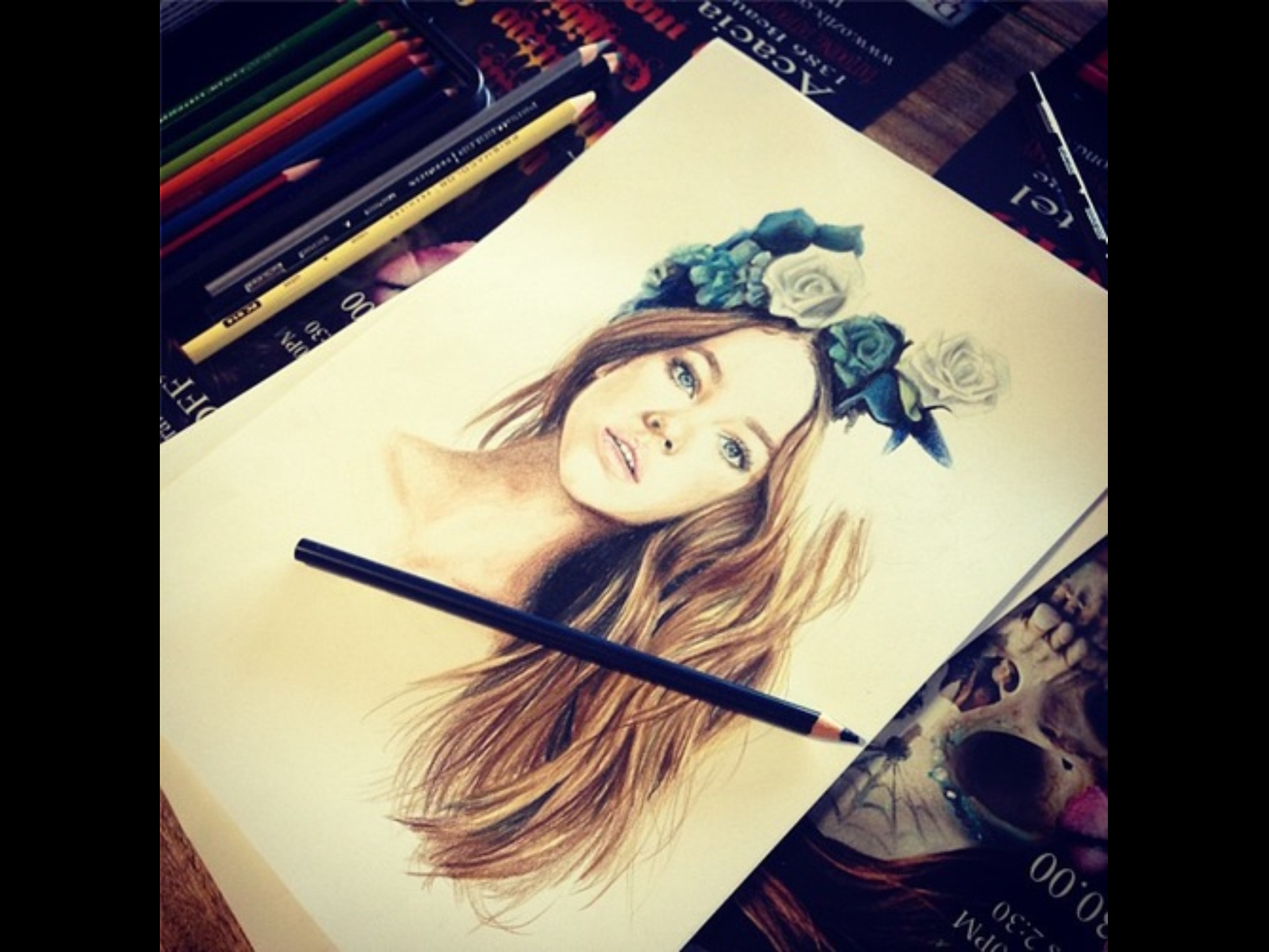 Drawn women flower crown On crown Pinterest images Drawing