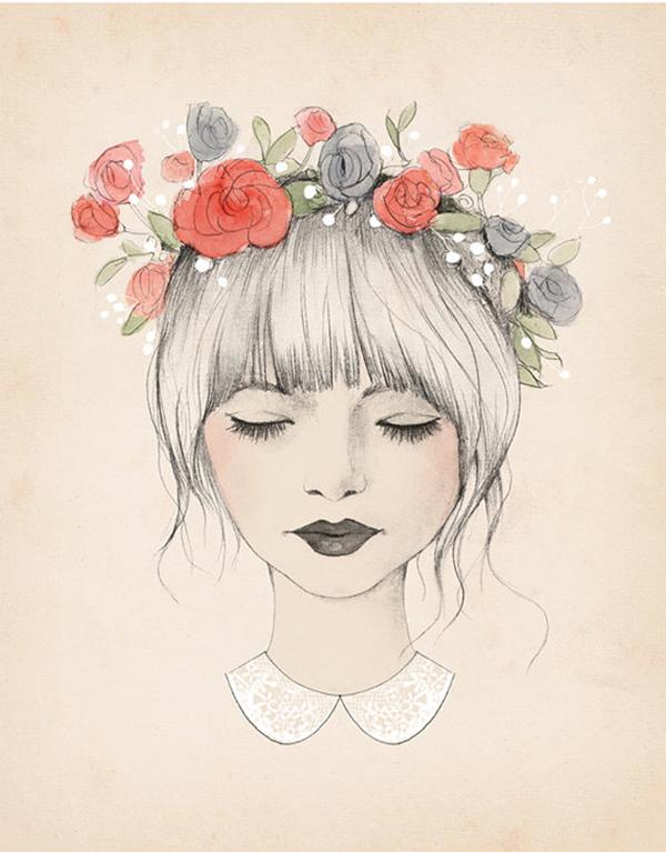 Drawn women flower crown Floral flower Blonde flowers