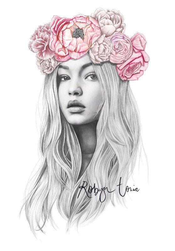 Drawn portrait floral Flower fashion crown on Hadid